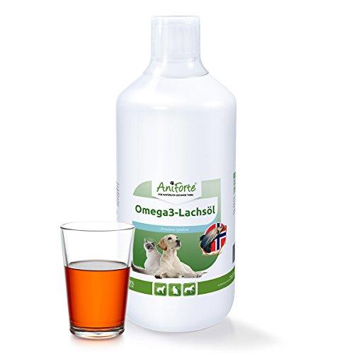41CgUKgNZ+L - Aniforte Omega-3 Lachsöl 1 Liter für Hunde, Katzen und Pferde, Kaltgepresst, Reich an EPA, DHA und ALA Fettsäuren, Natur Pur, Barf Ergänzung