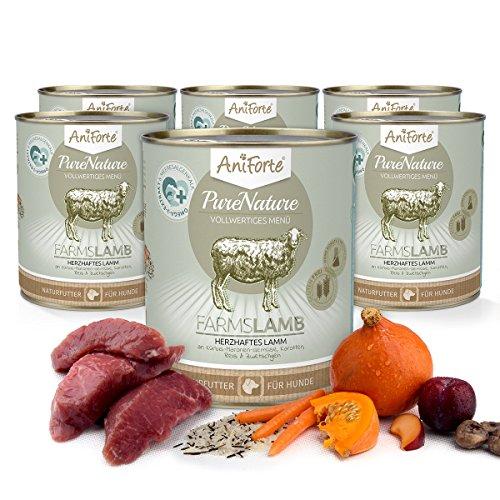 51G0e0F6lIL - AniForte PureNature Nassfutter 800g Farms Lamb Hundefutter- Naturprodukt für Hunde (Herzhaftes Lamm, 6x800g)